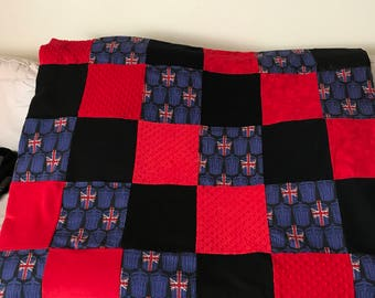 Doctor Who Union Jack Blue, Red & Black Tardis Quilt/Blanket