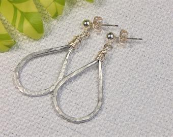 Silver Hammered Teardrop Hoop Earrings (E2)