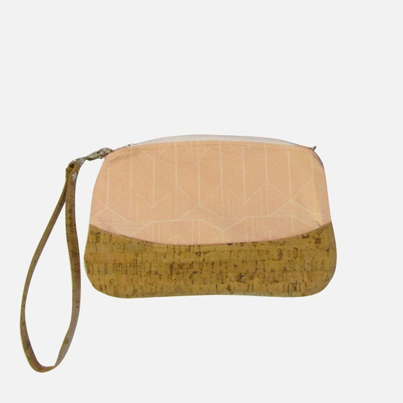 Peach lines  Handmade  Clutch cross body purse wristlet handbag shoulder bag evening bag