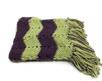 Crocheted Afghan Moss Green /  Deep Purple Stripes/ Fringe
