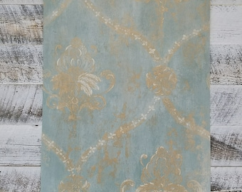 Aqua Blue & Gold Weathered Damask Wallpaper CH28248 - Sold by the Yard