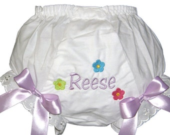 Personalized Diaper Cover Bloomers Panties Baby Girl U Choose the Design and Bow Color