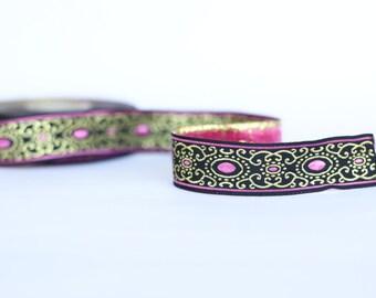 Sewing tape, 16 mm metallic pink Jacquard ribbon, Embroidered border,  pink gold black Jacquard trim,  metallic   Woven Border, Craft border