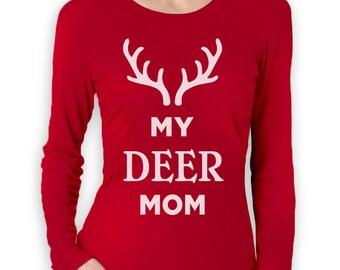 My Deer Mom Reindeer Antlers Christmas Women Long Sleeve T-Shirt