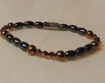 Copper Colored Crystals and Magnetic Hematite Bracelet
