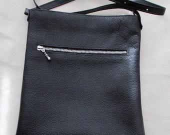 Cross body black leather bag