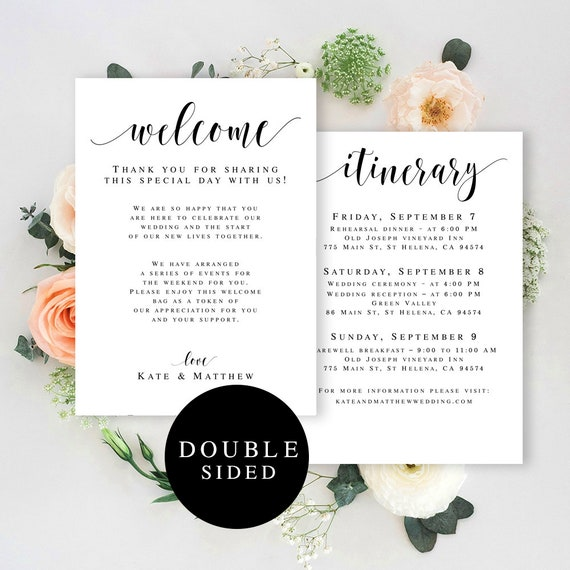 Wedding welcome bag note printable Wedding template itinerary