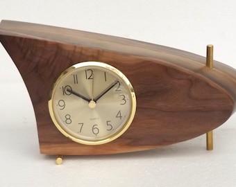 Danish Modern Mid Century Mantle / Table Clock, Black Walnut