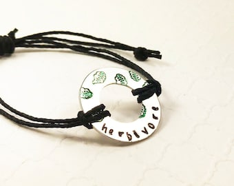 Cute Herbivore Bracelet - Vegetarian Vegan Jewelry - Herbivore Hemp Bracelet - Herbivore Jewelry - Herbivore Gift - Hand Stamped Jewelry