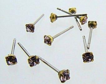 12 LIGHT AMETHYST GLASS vintage rhinestone brass stud earrings v860