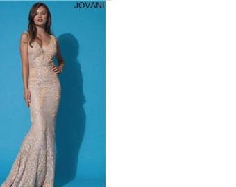 Jovani Lace and Sequin V-Neck Dress 88155