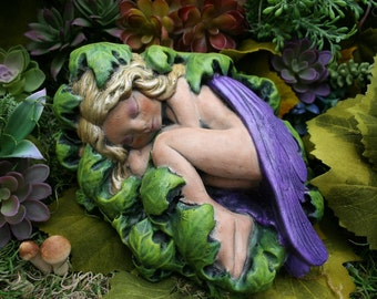 Fairy Garden Statue - The Sleeping Fairy of Whisper Hollow Concrete Garden Art