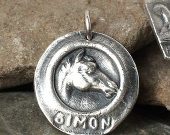 Horse Jewelry, Personalized Horse Equestrian Jewelry Horse Pendant Horse Charm, Horse Medallion Silver Horse Silver Pendant