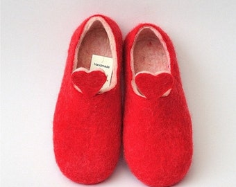 Summer Sale Red and white handmade felted slippers, HEART