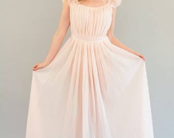 Peach Empire Waist Pleated Negligée - Vintage 50s 60s Micro Pleat Sheer Nylon Tricot Nightie Nightgown Waist Sash and Ruffled Cap Sleeve