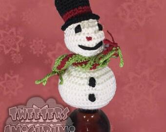Snowman Amigurumi Crochet Bottle Topper (Wine Topper)