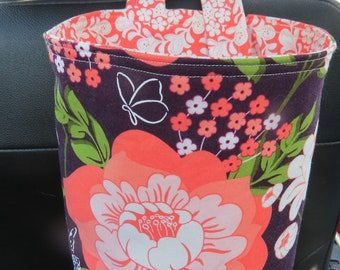 Trash Bin, Car Trash Bag, Cute Car Accessories, Headrest Bag, Trash Container, Floral