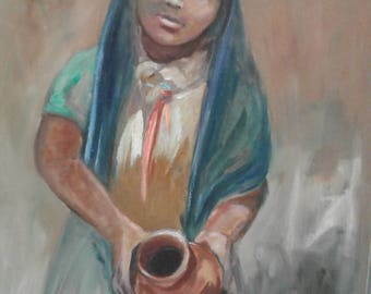 Vintage Oil On Canvas/ Signed/ Girl/Pottery Jug