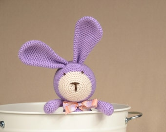 Bunny amigurumi, crochet handmade stuffed animal.