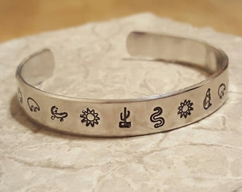 Southwestern Style hand stamped and polished aluminum cuff bracelet