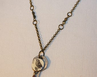 Vintage Key Necklace with Bird Image