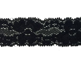 """1 inch Stretch Lace Elastic, Lace Elastic for Baby Head Bands, 1"""" Lace Elastic By the Yard, 5 or 10 yards - Black"""