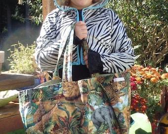 Jungle Bag, African Animals Tote, Safari Bag, Jumbo Lined Bag, Cloth Market Tote with Inside Pocket
