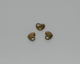 10 pendants 13x11mm antique brass hearts