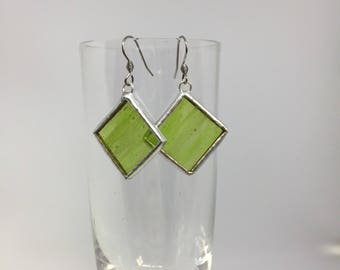Translucent Lime Green Stained Glass Earrings