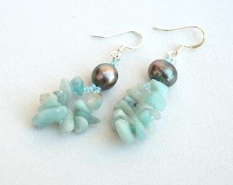 Blue amazonite and grey pearls earrings Rustic gemstones earrings Real pearl and gemstone earrings Aqua and grey earrings Israel art E1088