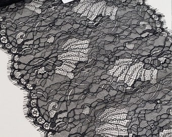 Black lace Trim, Chantilly Lace, French Lace, Wedding Lace, Scalloped lace Eyelash lace Floral Lace Lingerie Lace by the yard LM8221