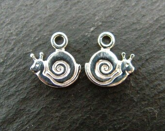 Sterling Silver Snail Charm 9mm