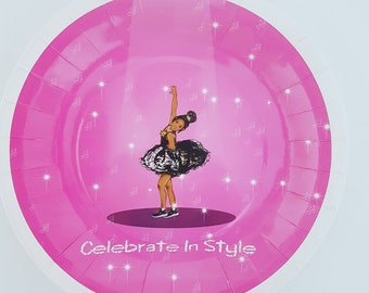 """Little Browngirl Birthday Party Plate 9"""""""