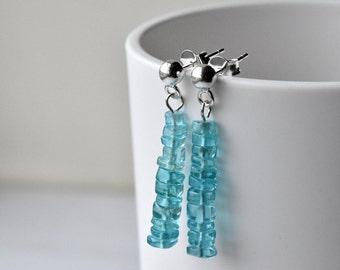 Blue Earrings - Sterling Silver - Mothers Day - Post Earrings - Gift for Her - Apatite Earrings - Gemstone Jewellery - Silver Post Earrings