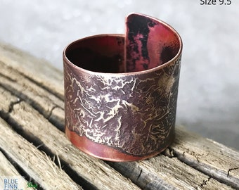 Mixed Metal copper and Sterling Silver Wrap Ring Rustic Artisan Metalwork Jewelry Copper Wrap Ring Boho Viking Inspired Norse Jewelry