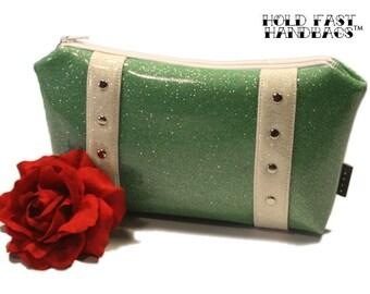 Aqua Glitter Cosmetic Bag with Your Choice of Trim, Retro Bag, Seafoam Vinyl, Mint Green Vinyl - MADE TO ORDER
