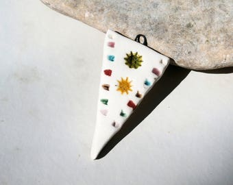 MADE to ORDER, arrow pendant, handmade ceramic supply, DIY, component, primitiv ethnic, man or woman pendant