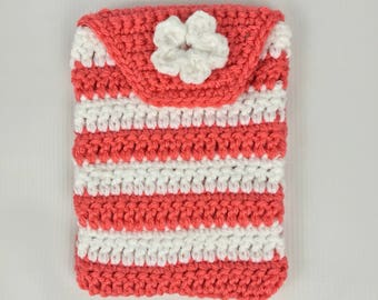 Crochet hook case, pouch, storage, salmon and white, Free Shipping