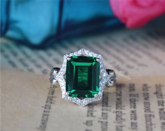 Lab Emerald Ring Engagement Ring/ Wedding Ring 925 Sterling Silver Ring White Gold Plated Anniversary Ring