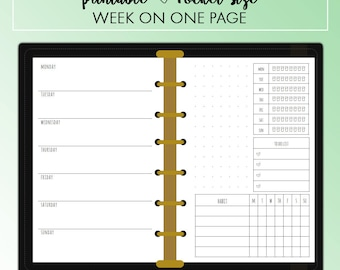 POCKET Week on One Page WO1P Planner Insert Printable | Fits Kikki K Small & Filofax Pocket Instant Download