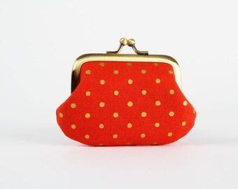 Metal frame coin purse - Golden dots on bright red  - Mummy purse / Metallic gold / ivory white / Modern minimalist / Mothers day