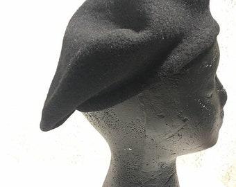 Black wool hat, vintage black beret, wool beret, vintage wool beret, vintage tam, vintage wool tam