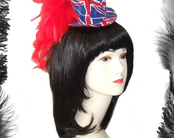 Union Jack Feather Plume Mini Top Hat