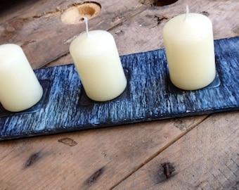 Ocean wave slate candleholder