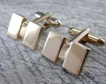 Gold Tone Vintage Men's Rectangular Square Cuff Links