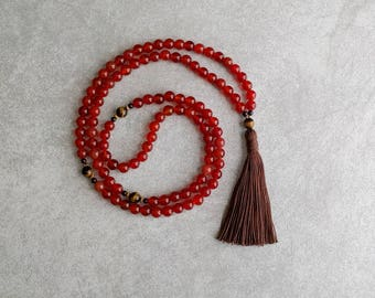 Carnelian Mala Bead Necklace with Tigerseye - Courage & Protection - Meditation Beads - 108 Mala - Item # 962