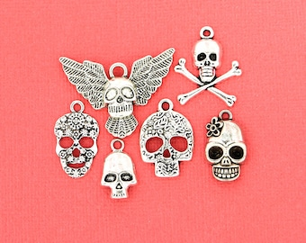 Skull Charm Collection Antique Silver Tone 6 Different Charms - COL117
