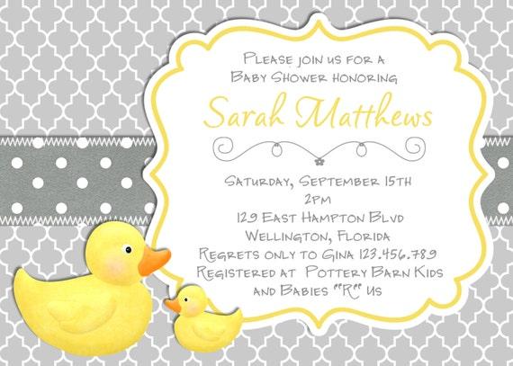Modern rubber duck baby shower invitation trefoil yellow gray like this item stopboris Images