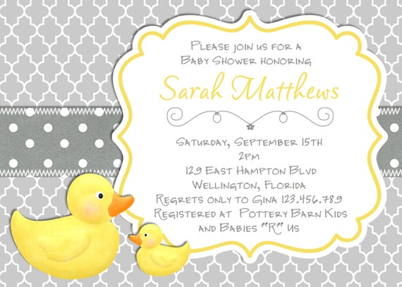 Modern Rubber Duck Baby Shower Invitation Trefoil Yellow Gray