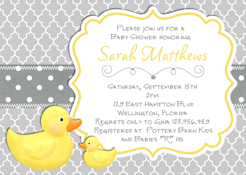 Modern Rubber Duck Baby Shower Invitation Trefoil Yellow Gray